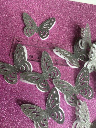25 Large 3d Argent Paillettes Carte Papillons Idéal Pour Fabrication Carte