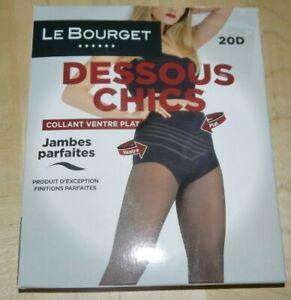 LE-BOURGET-DESSOUS-CHICS-Taille-2-NOIR-collants-VENTRE-PLAT-JAMBES-PARFAITES