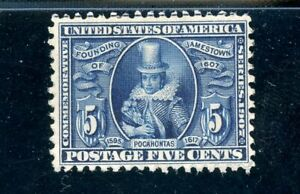 USAstamps-Unused-VF-XF-US-Jamestown-Pocahontas-Scott-330-OG-MNH-PO-Fresh