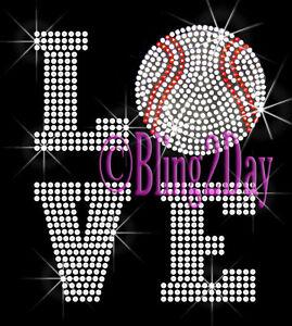Large Baseball Heart Iron On Rhinestone Transfer Hot Fix Bling Sports Mom