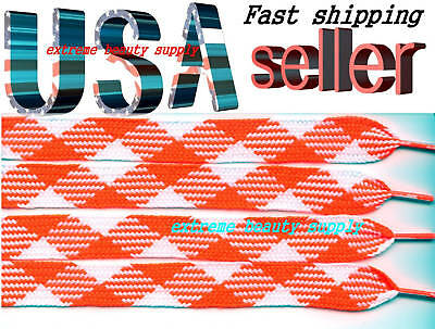 thick fat flat shoelaces retro wide boots halloween PINK /& white mix