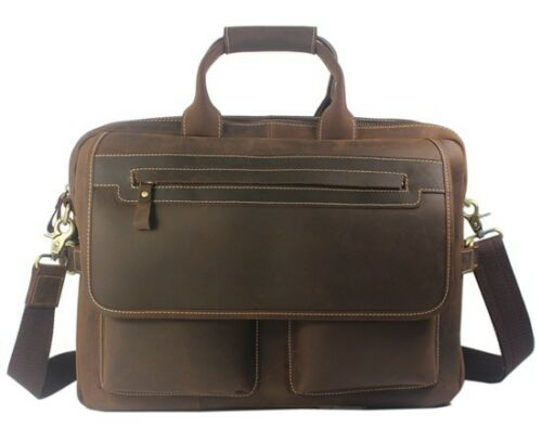NEW Vintage Cow Leather Men/'s 15/'/' Laptop Case Briefcase Shoulder Messenger Bag