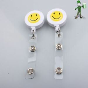 2-X-SMILEY-FACE-Retractable-Badge-Reels-for-ID-Card-Ski-Pass-Holder-Badge-Reel