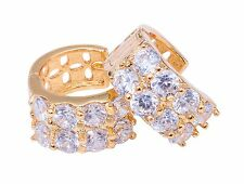 Gold Plated Ear Hugging Hoop Earring Eight Solitaire Austrian Crystal Lever Back