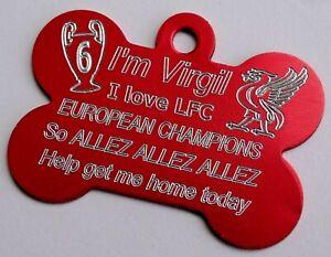 LFC-Liverpool-Dog-Tag-Never-Walk-Alone-Personalizado-Rojo-Hueso-mascota-ID-tag