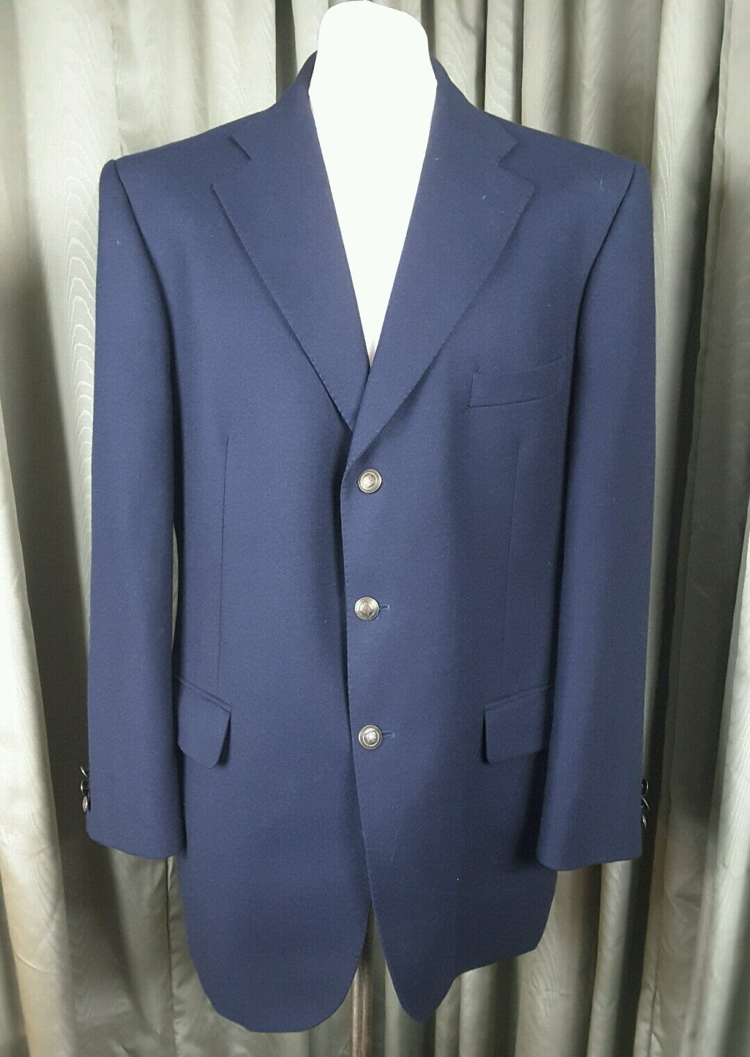 Marks & Spencer Wool/Cashmere Navy Gold Buttons Blazer 44M EXCELLENT CONDITION
