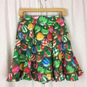 Circle-Skirt-Vintage-Ornament-Festive-Holiday-Print-Ruffle-Square-Dance-Clogging