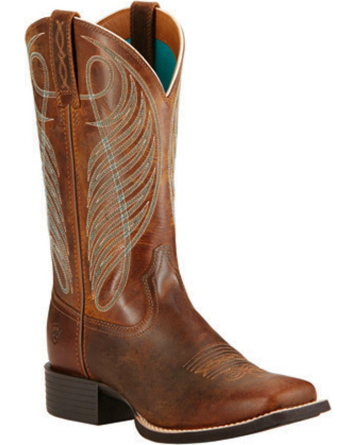 WOMEN'S ARIAT ROUND UP SQUARE TOE TOE TOE WESTERN BOOTS POWDER BROWN 10018528 d6b36d