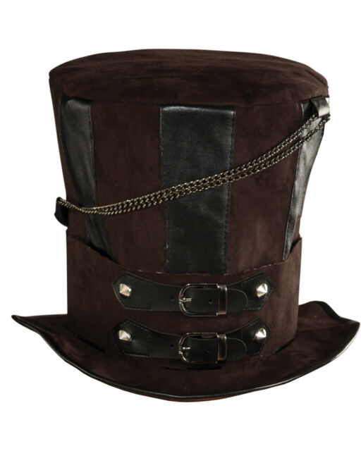 Deluxe Mens Womens Steampunk Brown Costume Chains Buckle Faux Leather Top  Hat a7b5d97020f