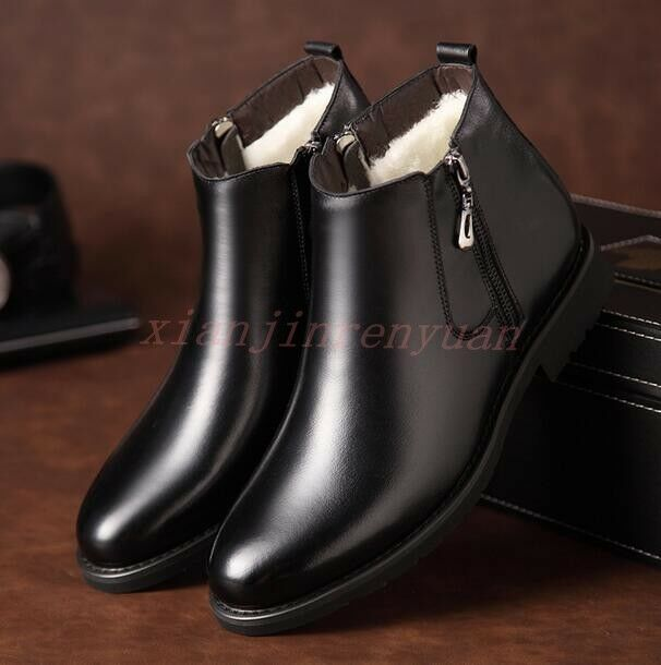 Winter Mens Dress shoes British High Top Fur Lined Zip Chukka Snow Ankle Boots