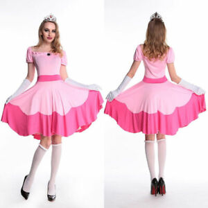 Details About Adult Princess Peach Costume Women Super Mario Bros And Luigi Cosplay Pink Dress