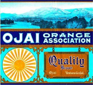 Ojai Ventura County Quality Orange fruit crate label ...
