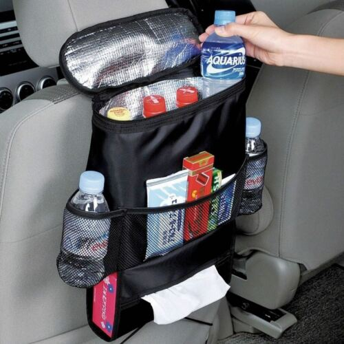 Car Back Seat Organiser Tidy Hot/Cold Insulated Cooler Bag Tissue Drinks Holder