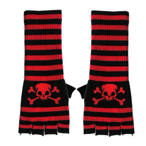 Longtemps fingerlose gants rock papa-tete de mort rouge