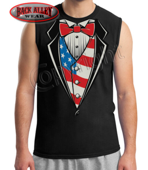 American Flag Tuxedo Sleeveless Shirt TUX Funny Muscle Tee Patriotic Big GUNS
