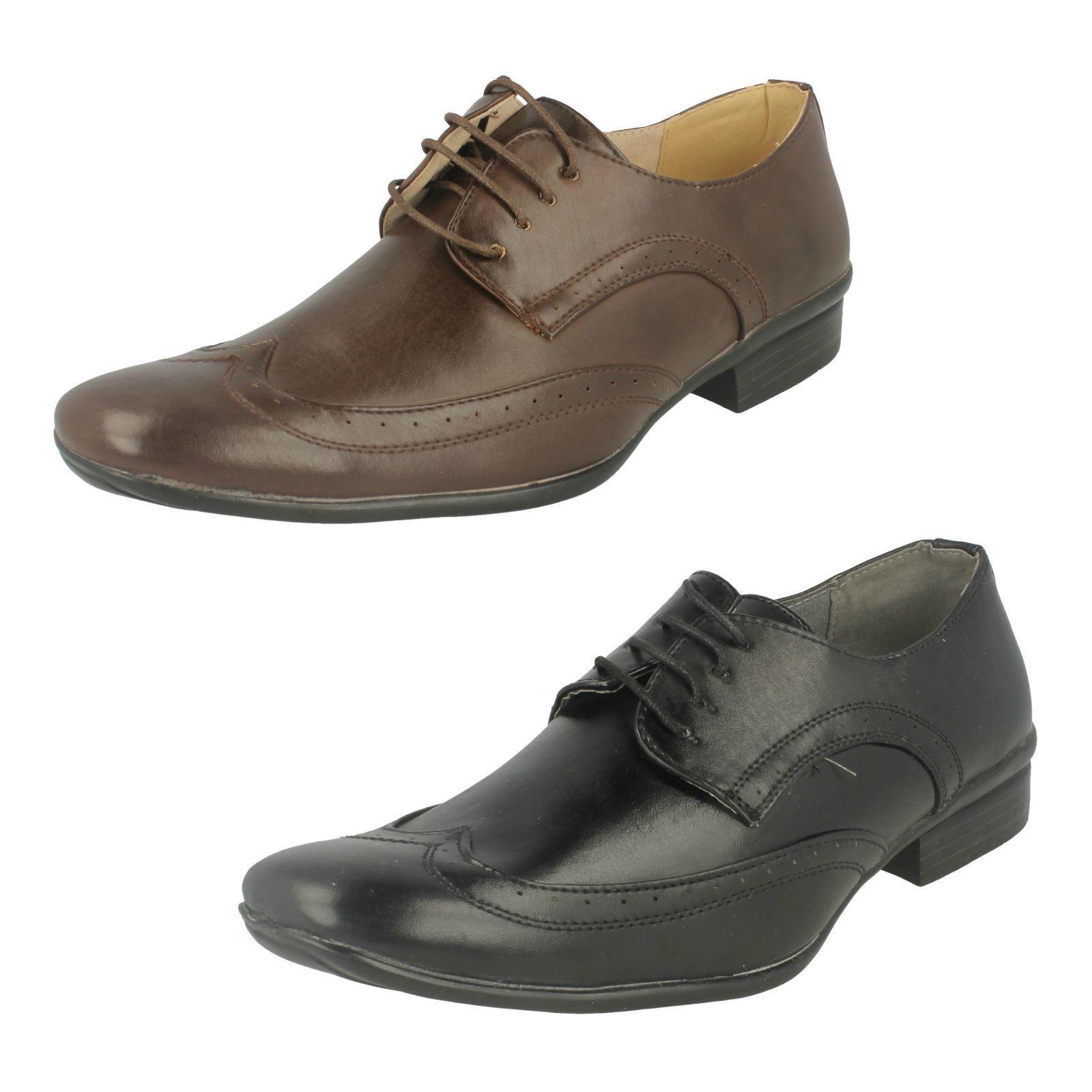 a2076- Hombre MAVERICK Oxford Cuero Con Cordones Zapato Oxford MAVERICK zapatos- Negro&Marrón ec6492