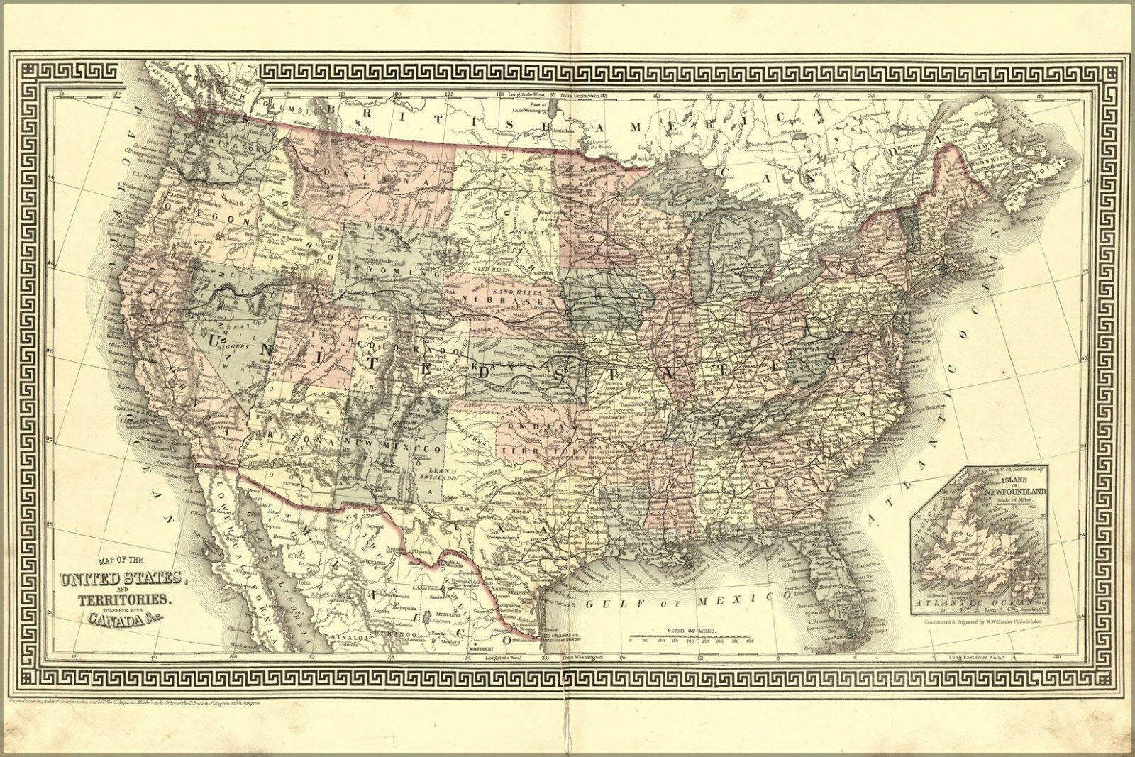 Poster, Many Größes; Map Of The United States Of America 1877