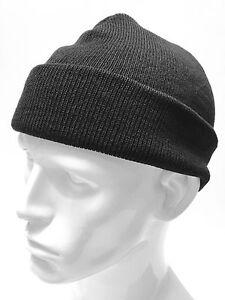 Retro Black Mens Bob Knitted Beanie Hat Cap Military Army