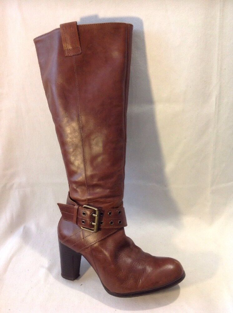 Marks&Spencer Brown Knee High Leather Boots Size 4