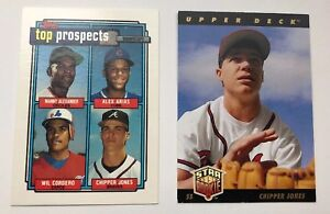 Details About Chipper Jones Atlanta Braves Rookie Card Rc Upper Deck Topps Two Card Lot
