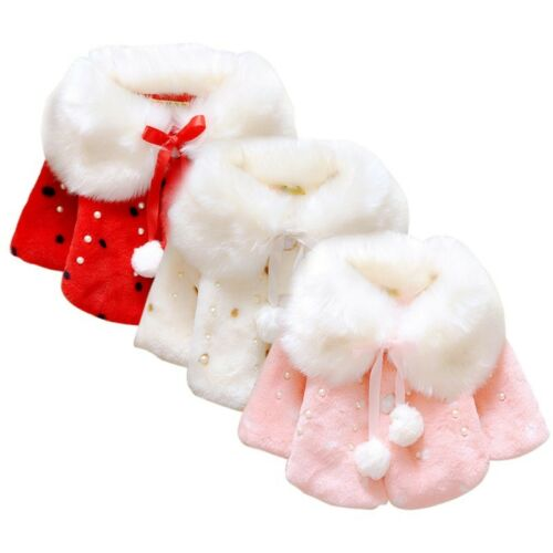 Baby Girl Winter Warm Cape Toddler Coat Cloak Jacket Fur Outerwear Clothes 0-3Y