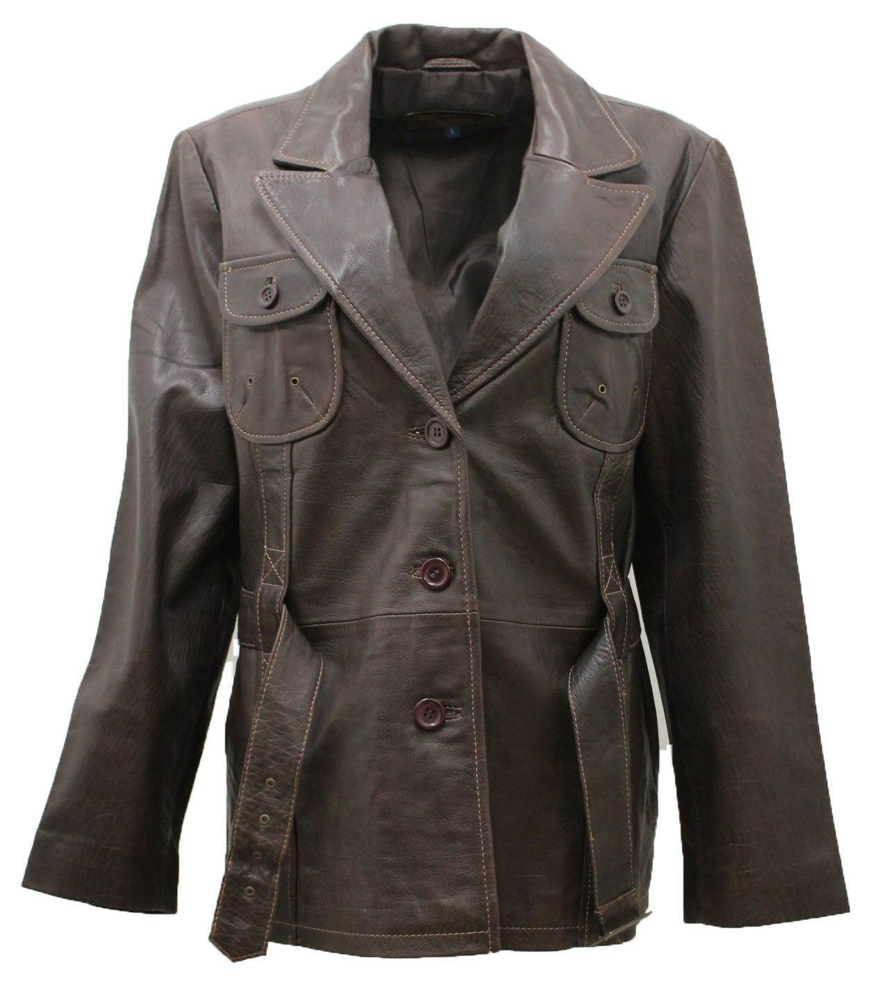 Women's Classic Brown Contrast Leather Belted Peacoat
