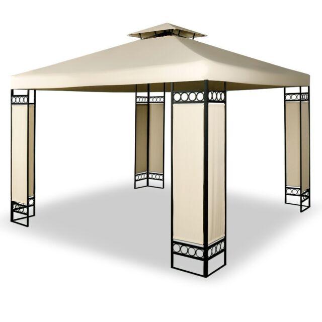 Gazebo Tent Canopy 3x4m Garden Event Patio Shade Pop up Beige Metal ...