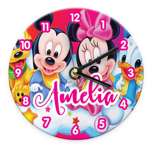 Personalised Any Name Mickey Minnie Wall Clock Printed Gift Kids Bedroom 5