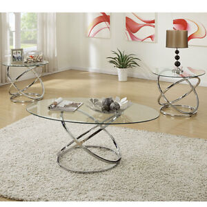 Details About 3 Pcs Oval Gl Tail Coffee Table Round End Side Silver Metal Chrome Base