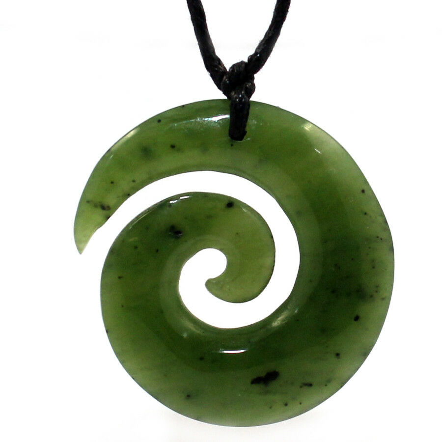GENUINE 30MM NEPHRITE JADE NEW ZEALAND MAORI KORU GREENSTONE PENDANT