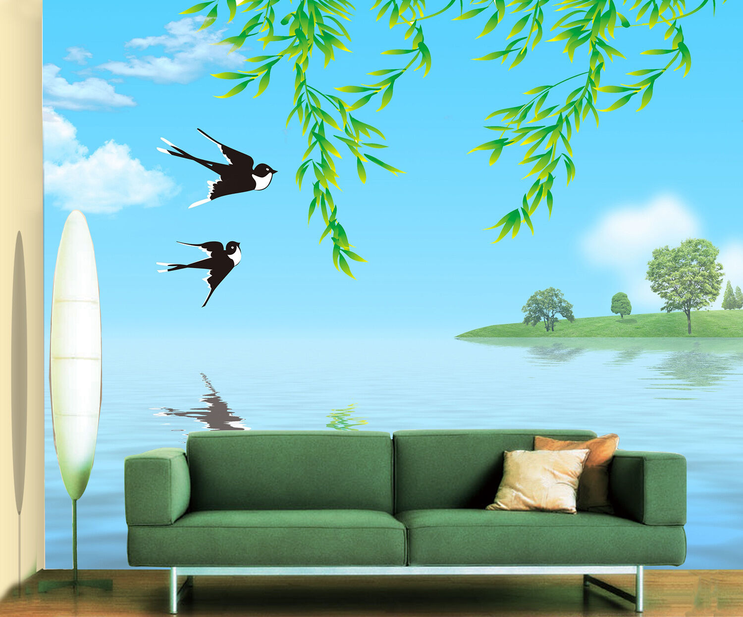 3D Lake, swallows, leaves 65 Wall Paper Print Wall Decal Deco Indoor Wall Murals