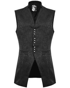 Punk Rave Mens Vest Waistcoat Black VTG Damask Gothic Steampunk Victorian