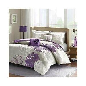 purple king bedding 5 piece set reversible comforter silver gray floral bedroom ebay. Black Bedroom Furniture Sets. Home Design Ideas
