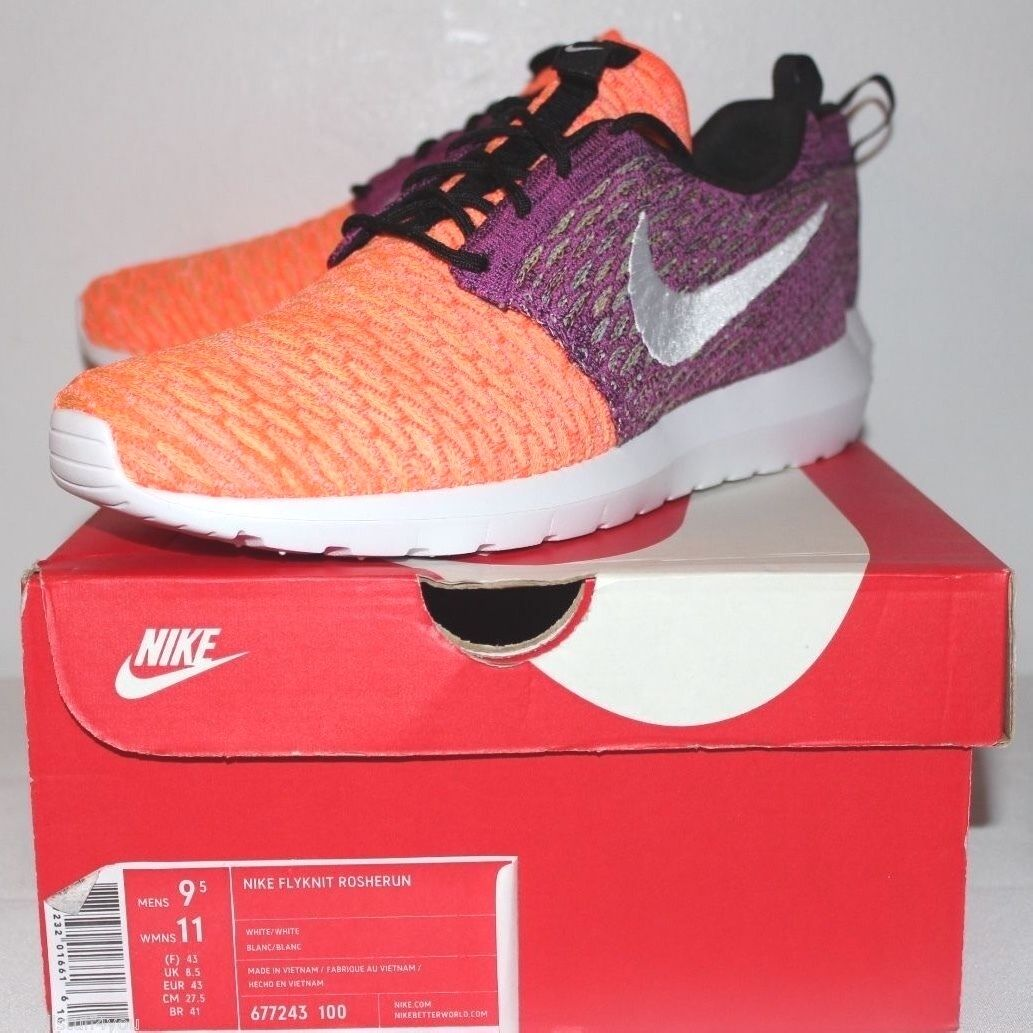 Nike Air Roshe Run Yarn Grey Gray Purple Orange Sneakers Men's Comfortable The most popular shoes for men and women
