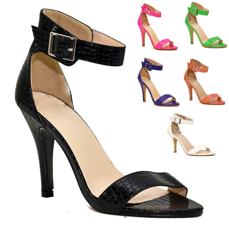 LADIES BARELY THERE HIGH STILETTO HEEL  UK ANKLE STRAP SHOES SANDALS UK  SIZES 3-8 65ed4a