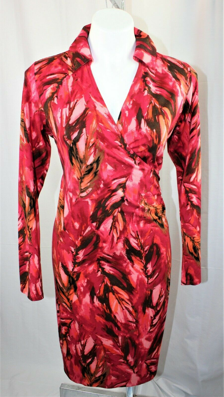 182412f2701 ... NWT J Jill Wearever Wearever Wearever Collection Sz Small Faux Wrap  Knit Dress Red Pink Print ...