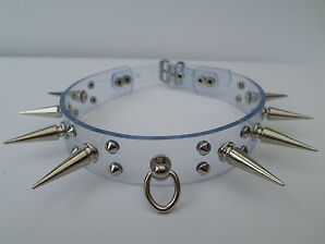 """clear pvc with 30mm  spikes fetish bondage slave collar  12-15""""  24mm wide"""