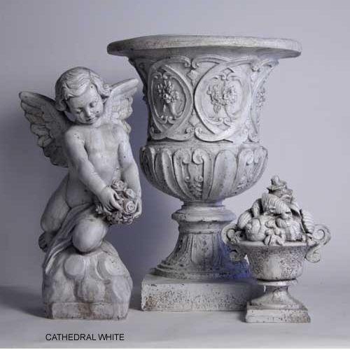 "Meditating Cherub Bird Bath by Orlandi Statuary Made of Fiberstone-17/""H FS8264"