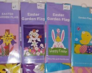 Easter Garden Flag 12 X 18  Choice:  Crosses, Bunny, Chicks   New