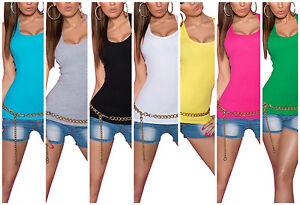 Damen-Sommer-Shirt-in-Ripp-Optik-Basic-Tank-Top-Baumwolle-Tanktop-XS-S-M-36-38