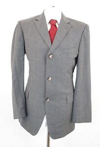 HUGO-BOSS-Anzug-Rosselini-Movie-Gr-52-grau-uni-Einreiher-3-Knopf-C60