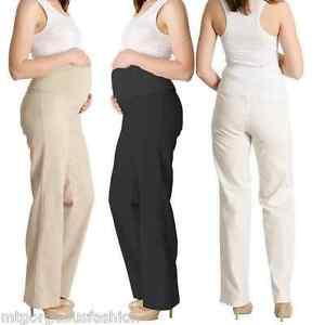 968a4db88f3 Details about Maternity Pregnancy Linen Trousers Pants Over Bump size 8 10  12 14 16 18 Black