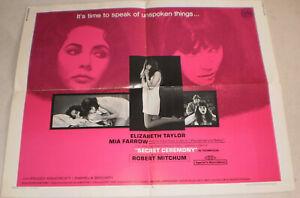 klein,Filmplakat,SECRET CEREMONY,ELIZABETH TAYLOR,MIA FARROW,ROBERT MITCHUM-20