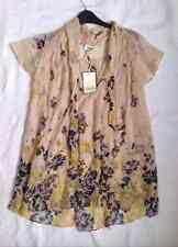 BNWT Temperley London Beige Yellow Floral Silk Tunic Blouse Top 10 12 S -75%off!