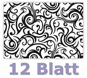 Weihnachten Schwarz Weiß Bilder.Details Zu 12 Blatt Geschenkpapier Schöne Ornamente Muster Schwarz Weiß Weihnachten Ges 503