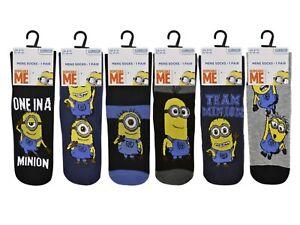 6 mens minions 100% official cartoon novelty character socks uk 6 11