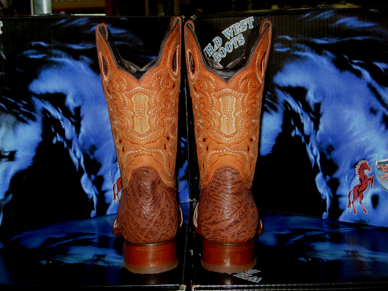 WILD WEST GENUINE OSTRICH SQUARE COGNAC RODEO WESTERN COWBOY BOOT 2820303