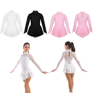 Kids Girls Gymnastics Leotard Turtle Neck Ballet Dance Dress Ice Skating Costume