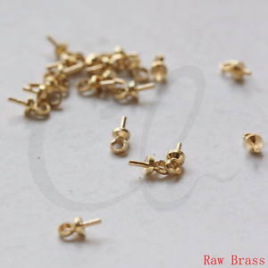 60 Pieces Raw Brass Glue On Bead Cap with Peg - 3mm (3368C-L-135)
