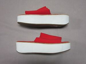 J-SLIDES-NYC-WOMENS-RARE-CHERRY-RED-SLIP-ON-PLATFORM-SANDALS-SHOES-SIZE-10-NEW